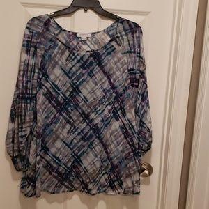 Cute blue/purple/grey/white print blouse